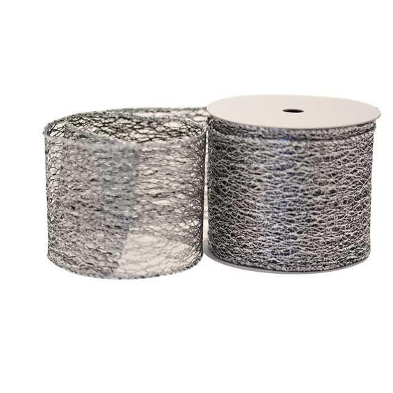 Black Silver Web Christmas Ribbon