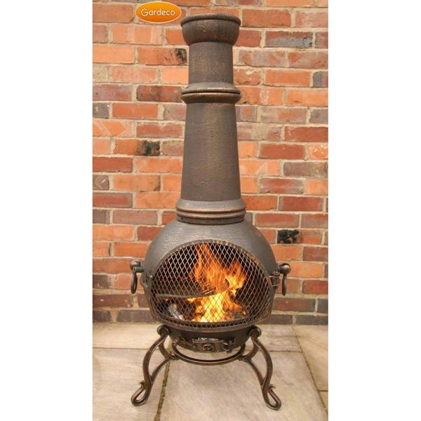 Gardeco Toledo Cast Iron Jumbo Chimenea - Bronze