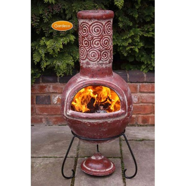 Gardeco Spiral Red Clay Chimenea