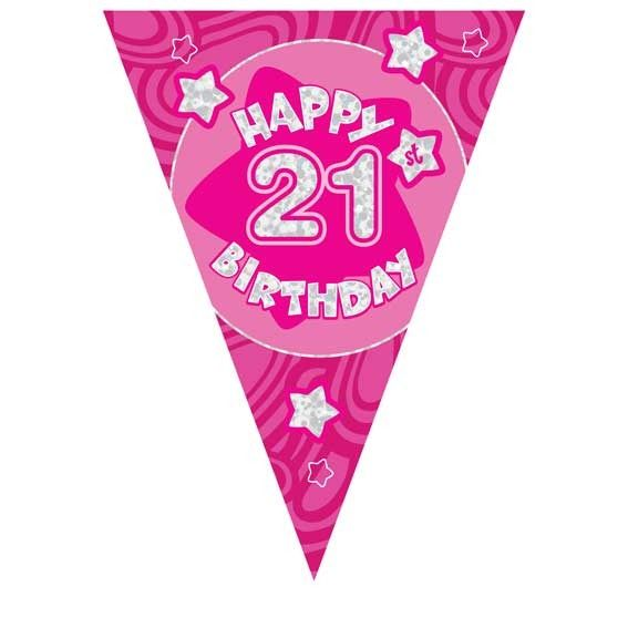 Pink Holographic 21st Banner