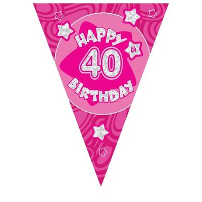 Pink Holographic 40th Banner