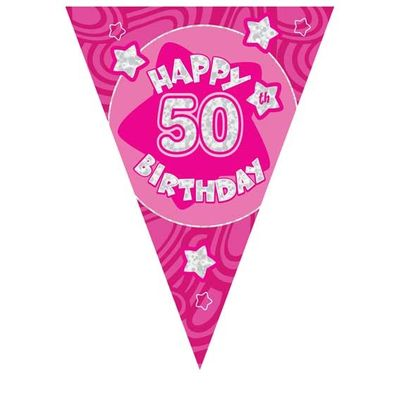 Pink Holographic 50th Banner