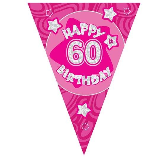Pink Holographic 60th Banner