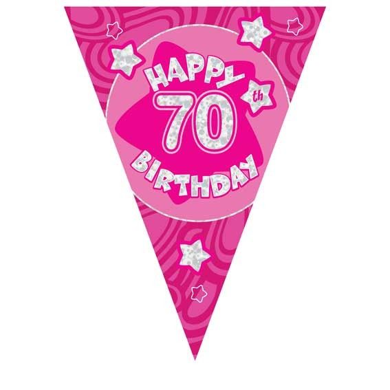 Pink Holographic 70th Banner