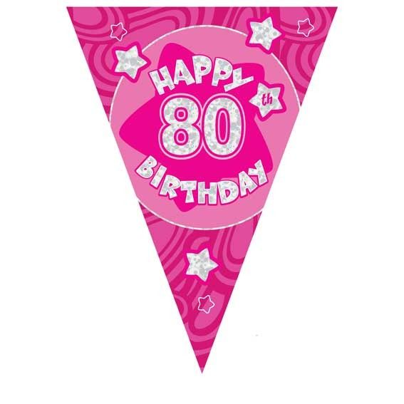 Pink Holographic 80th Banner