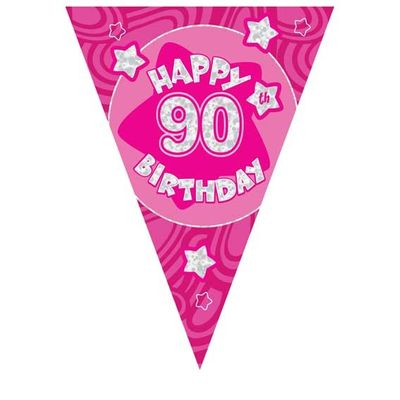 Pink Holographic 90th Banner