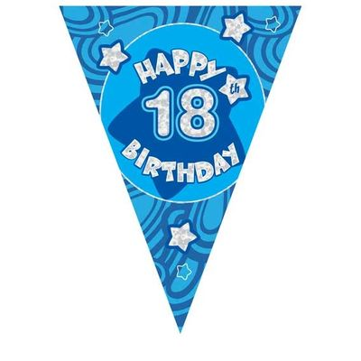 Blue Holographic 18th Birthday Banner