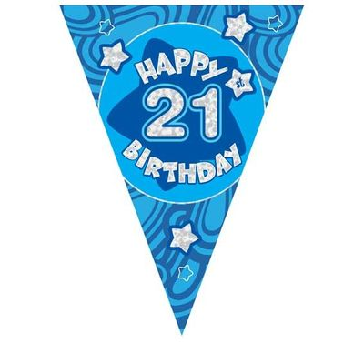 Blue Holographic 21st Birthday Banner