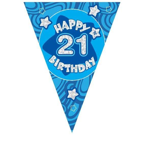 Blue Holographic 21st Birthday Banner