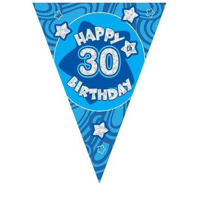 Blue Holographic 30th Birthday Banner