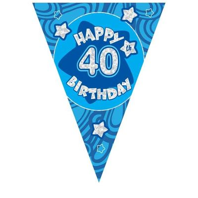 Blue Holographic 40th Birthday Banner