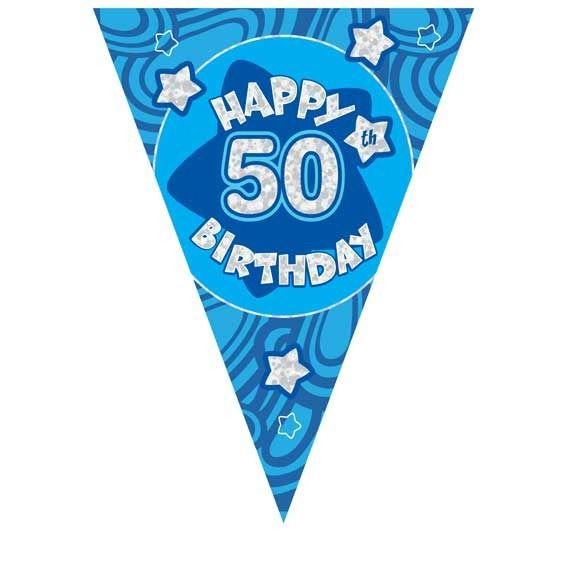 Blue Holographic 50th Birthday Banner
