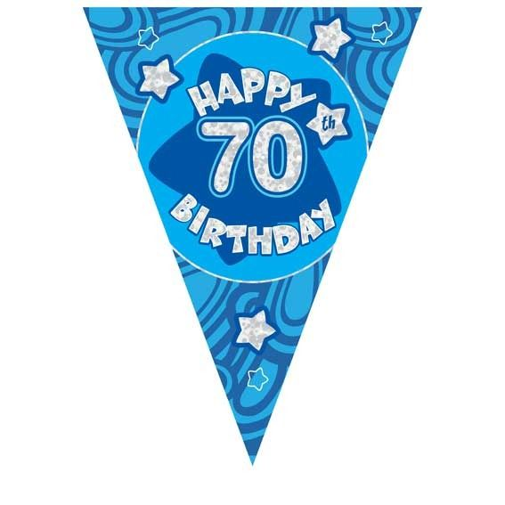 Blue Holographic 70th Birthday Banner