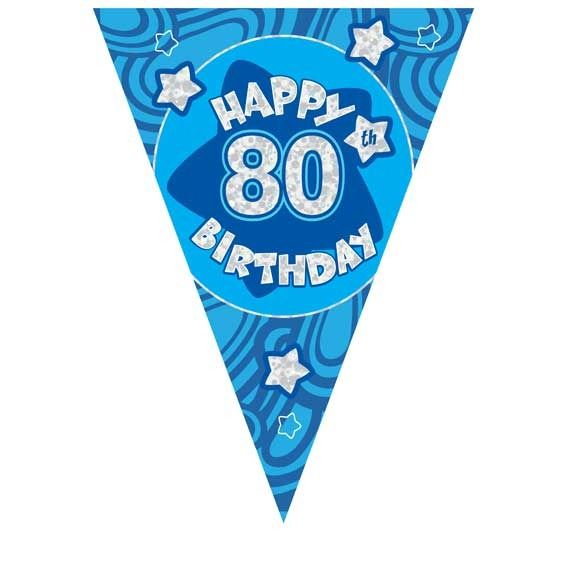 Blue Holographic 80th Birthday Banner