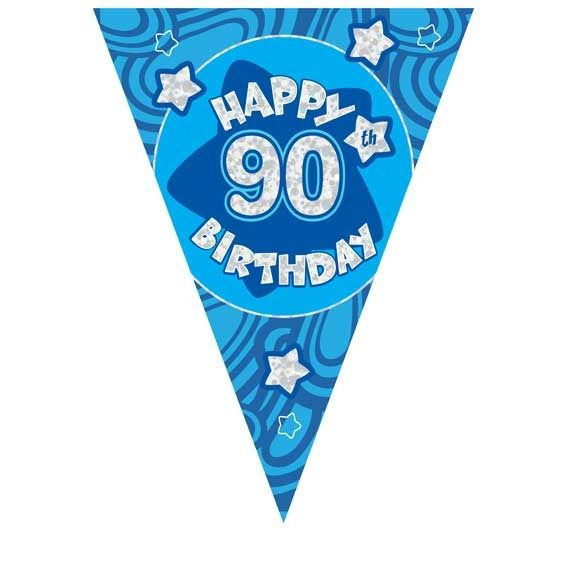 Blue Holographic 90th Birthday Banner