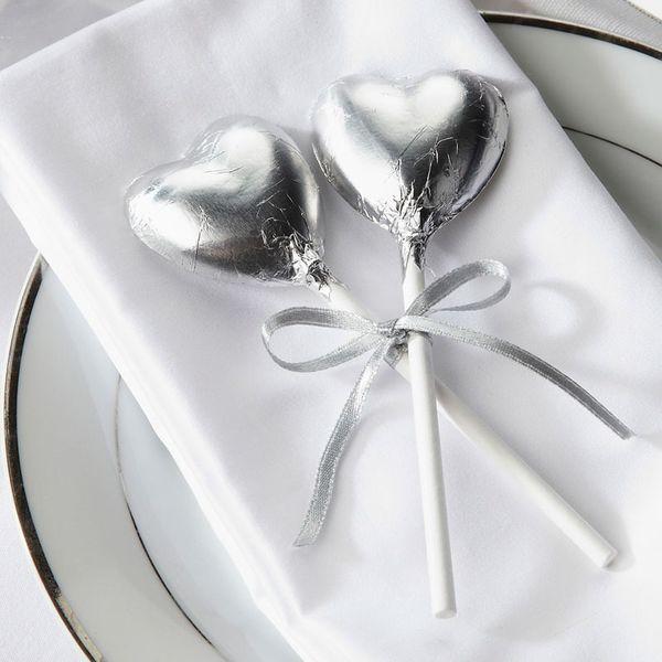 Silver Heart Lollipops