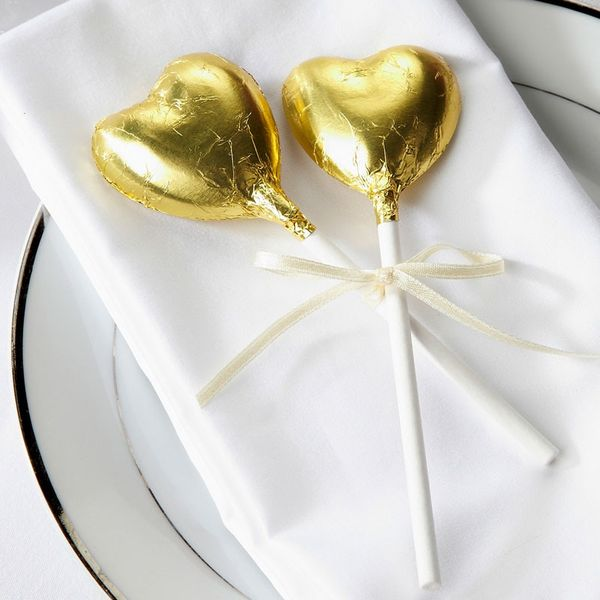 Gold Heart Lollipops