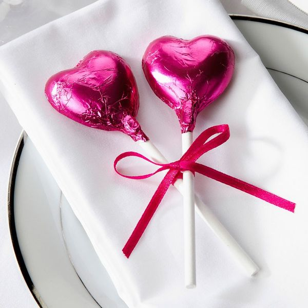 Hot Pink Heart Lollipops