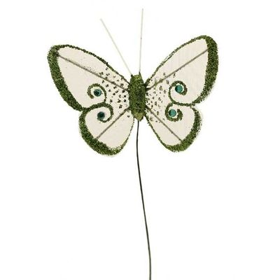 7cm Lime Green Gauze Butterfly