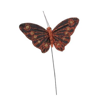 8cm Orange Cotton Butterfly