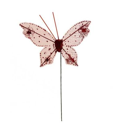 7cm Red Gauze Butterfly