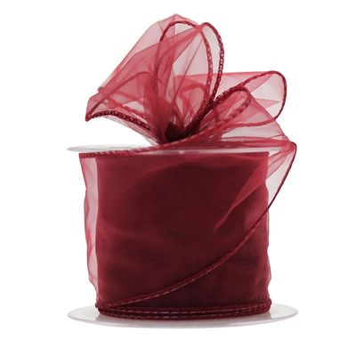 70mm Burgundy Chiffon Ribbon