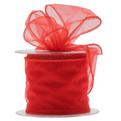 70mm Red Chiffon Ribbon