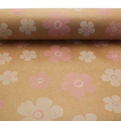 Pink & White Fleur Kraft Paper