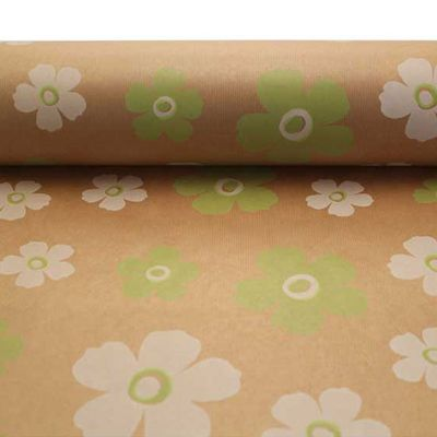 Green & White Fleur Kraft Paper