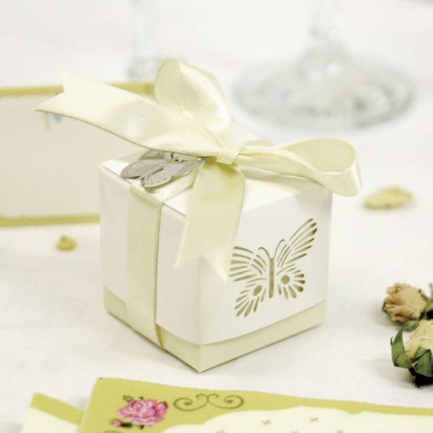 5 x Gold Laser Cut Butterfly Favour Box