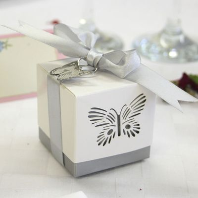 Silver Butterfly Favour Box