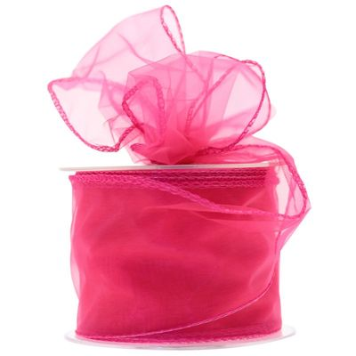 70mm Shocking Pink Chiffon Ribbon