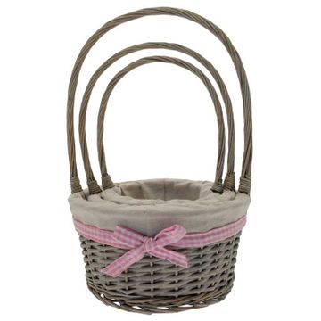 Grey Wash Baskets with Handle