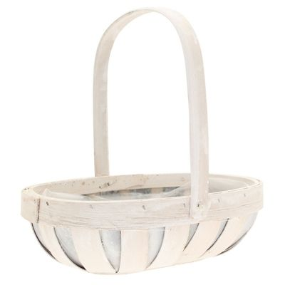 Rustic White Trug with Folding Handle