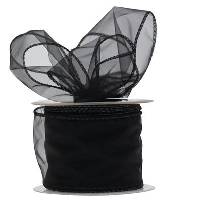 70mm Black Chiffon Ribbon