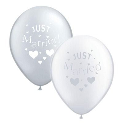 Silver and White Just Married Balloon