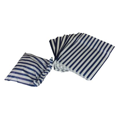 Large Dark Blue Candy Stripe Sweet Bag