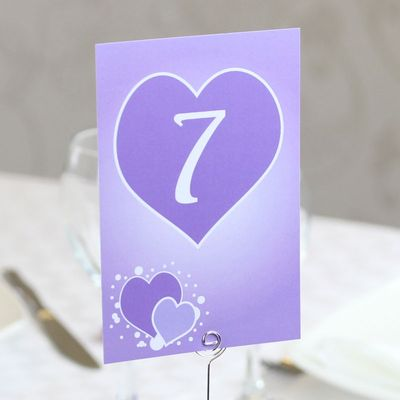 Lilac Hearts Table Numbers