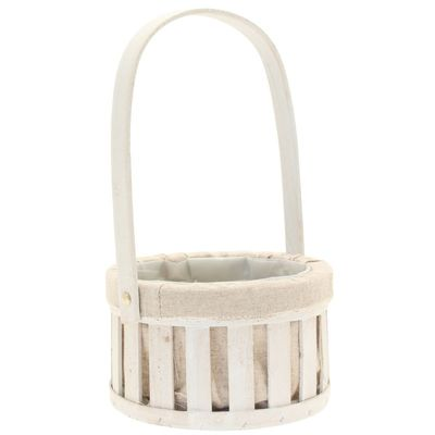 White Round Basket with Handle