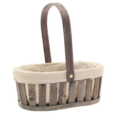 Grey Wash Trug Basket