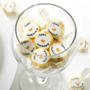 Gold Just Married Rock Sweets