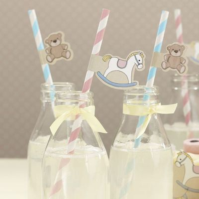 Rock A Bye Baby Paper Straws with Flags