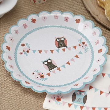 Patchwork Owl Paper Plates