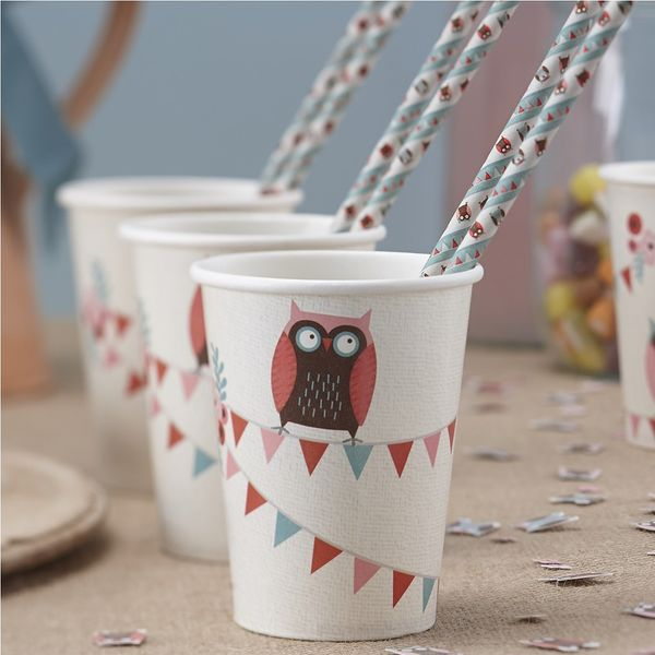 Patchwork Owl Paper Cups