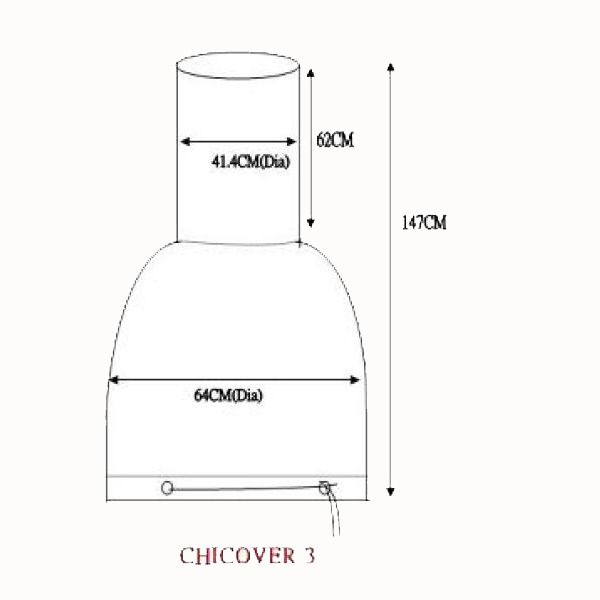 Gardeco Chimenea Cover - Extra Large - Dimensions