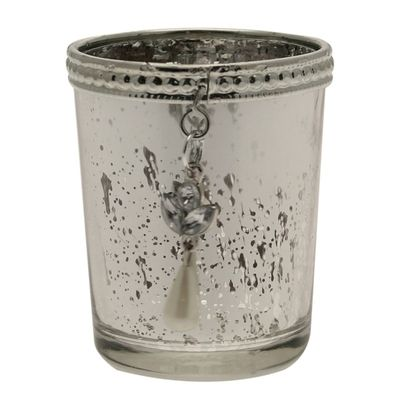 Silver Speckle Votive with Hanging Decoration
