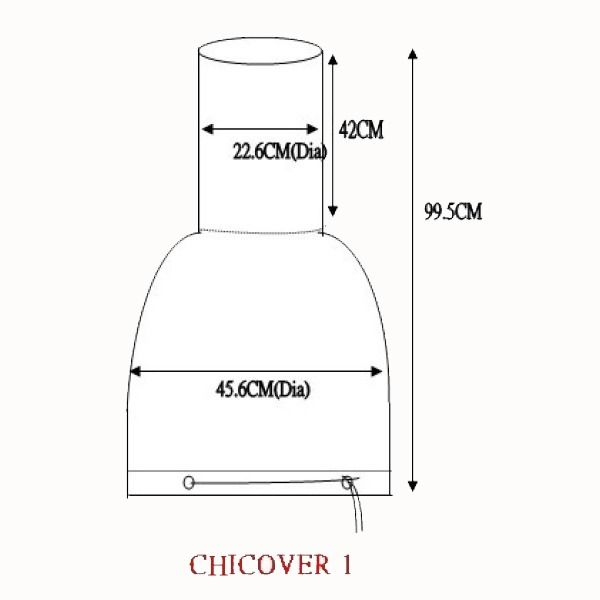 Gardeco Chimenea Cover - Medium & Large - Dimensions