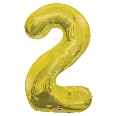 Big Number 2 Gold Balloon