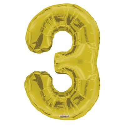 Big Number 3 Gold Balloon
