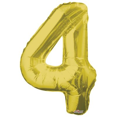 Big Number 4 Gold Balloon